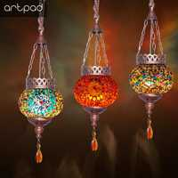 Turquía Vintga colgante luces de E27 Base de Metal colorido pantalla café Bar y restaurante colgar de la lámpara de la decoración