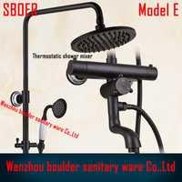 De lujo de alta calidad de baño negro antiguo ducha de lluvia set, mezclador termostático ducha de control, montado en la pared