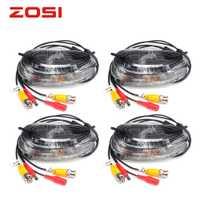 ZOSI 4-embalado 18,3 m CCTV Video BNC + DC cable de enchufe para CCTV cámara y sistema DVR cable Coaxial, Color negro