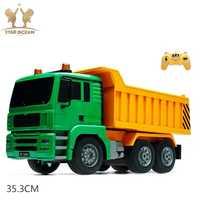Coche de juguete remoto camión de volteo de alta simulación RC camión de juguete vehículos de ingeniería cargado coche de arena 1:20 escala para niños de juguete