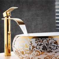 Nueva llegada grúa oro y color blanco grifo cascada baño grifo del lavabo del baño grifo del fregadero frío y caliente grifo