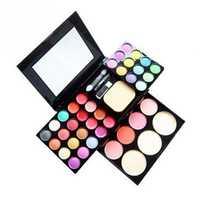 Juego de maquillaje paleta de sombra de ojos de 24 colores + colorete de 4 colores + 6 brillo de labios + Kit de cosméticos de pastel de soplo de 3 colores Maquiagem Completa