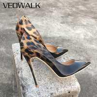 Zapatos de charol de leopardo para mujer de moda Veowalk con puntiagudos 8-12 cm Stiletto Ultra alto de tacón Sexy para fiesta de mujer Size34-43