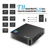 T11 WIN10 licencia MINI PC Intel Atom Z8350 de 1,4 GHz de 4 GB + 32 GB Wnidows 10 de soporte de 2,5 pulgadas HDD VGA HDMI y salida Dual 5,8 Ghz wifi