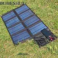 BUHESHUI plegable 50 W cargador del Panel Solar/cargador de teléfono móvil USB 5 V + DC18V salida para 12 V cargador de batería con 3 m Clips