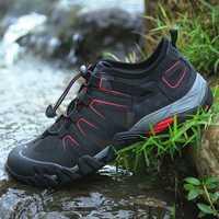 Verano hombre Aqua Zapatos de deporte, zapatos transpirables de los hombres al aire libre sandalias negro gris oscuro hombre playa zapatos de agua zapatos Anti-Slip senderismo zapatos de Trekking