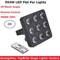 2019 Led mostrar Panel plano LED Par luz 9X4 W RGBW Quad Color Disco lámpara etapa Luces discoteca rayo láser proyector Lumiere