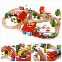 Tren de juguete vehículos niños juguetes Thomas tren de juguete modelo de coches de madera coche puzle construcción ranura carril de tránsito aparcamiento Carage 3119