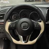 Brillante trigo cosida a mano Beige negro cubierta de volante para Mazda CX-5 CX5 Atenza 2014 nuevo Mazda 3 CX-3 2016