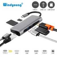 7 En 1 USB C USB-C HDMI 4 K Gigabit Ethernet Rj45 adaptador USB 3,1 SD/TF tarjeta lector para MacBook Pro iPad tipo C Hub USB Hdmi