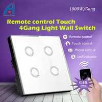 Nuevo 1000 W 4 Gang 1 manera interruptor de control remoto 220 V, lujo estándar británico y interruptor cristal Touch panel interruptor de pared