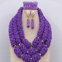 Conjunto de joyas de cristales de cuentas de Metal dorado nuevo hecho a mano boda Africana cuentas nigerianas collar púrpura de salvia grande envío gratis