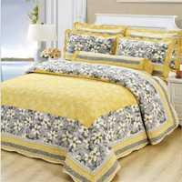 Fundas de almohada de colcha Floral encantador tamaño Queen King amarillo 100% algodón conjunto de cama gruesa juego unids de 3 piezas