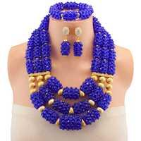 La joyería africana de los granos para la boda nigeriano conjunto de joyas para las mujeres collar y pendientes azul envío libre del color