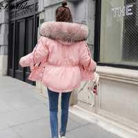 Rosa chaqueta de invierno mujer capucha de piel abrigo de Invierno Caliente Parka pieles grande mujer chaqueta con capucha coreana señoras Parka de piel abrigos 2018 nuevo
