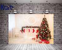 Kate Warmth interior fotografía de fondo de Navidad medias de Navidad telón de fondo blanco con el árbol para la familia foto estudio