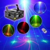 3 lente 18 patrones RG láser azul LED etapa de Iluminación DJ Luz