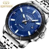 Calendario de fase lunar Tourbillon automático reloj mecánico Top relojes de lujo para hombre vestido de acero resistente al agua para deportes de negocios