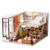 Marrón 3D casa de madera jugando decorativo de madera Mini muñeca con luces de muebles de gabinete de figuras de artesanía de juguetes de madera