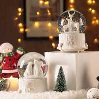 Cuento de hadas Oso Polar alce bola de cristal música caja de música luminosa de nieve caja de música de Navidad Año nuevo regalo mx12101546