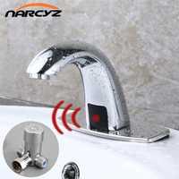 Grifos de Sensor táctil automático de baño caliente y frío ahorro de agua eléctrico inductivo grifo de agua mezclador de energía de batería HZY-12