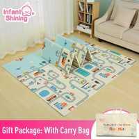 Infantile brillant réversible bébé tapis de jeu bande dessinée tapis doux grande taille 180*200*1 CM épaissi enfants tapis tapis de jeu tapis de jeu pour les enfants