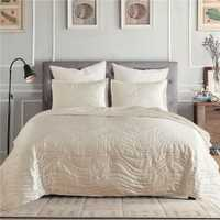 Cubrecama a cuadros de lujo Super suave sólido simple Pinsonic acolchado cama edredón cama cubierta US King Size Coverlet set Beddingoutlet
