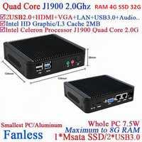 Servidor win7 integrado sin ventilador mini pc J1900 red quad-core 4G RAM 32G SSD integrado -wifi de apoyo