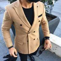 Marrón chaqueta de Tweed de Mens doble Breasted Blazer de traje corte Slim Ternos clásico traje de los hombres capa de diseño de traje de los hombres 2 unidades