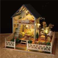 El tipo de jardín DIY casa música moderna caja hecha con madera hecho a mano DIY juguete para adultos música luminosa caja para regalo