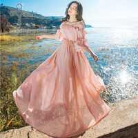 YOSIMI 2018 verano vestido Maxi Halter vestido de gasa de mujer largo vestido rosa de el hombro de manga Mitad de playa Mujer vestido