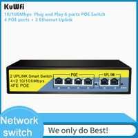 Interruptor PoE de 4 puertos KuWFi, 2 puertos, alimentación sobre Ethernet 802.3af/a 78 W, interruptor de red de escritorio inteligente de Metal no gestionado