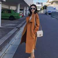 2019 otoño nuevo estilo gabardina abrigo de tela suave color naranja brillante para wome y gabardina larga coreana stylezara *