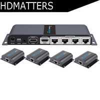Répartiteur HDMI UTP LKV714Pro 1X4 extender HDMI par câble cat5e/6 jusqu'à 40M avec 4 récepteurs HDMI inclus + 1 sortie en boucle HDMI
