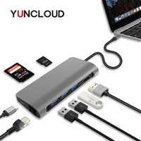 USB C 4 K HDMI RJ45 LAN USB 3,0 SD/TF lector de tarjeta adaptador de tipo C de la policía puerto de carga para Macbook DELL Huawei tipo C HUB