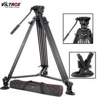 Trípode de cámara de videocámara de aluminio portátil profesional Viltrox VX-18M 74 pulgadas + carrete de cabeza de sartén fluido para carga de fotos de vídeo 10 kg