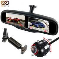 Sinairyu cantidad opcional cámara de conversión de Vista frontal y trasera y pantalla doble HD de 4,3 pulgadas Monitor de espejo de aparcamiento para coche
