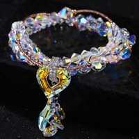 Niñas Pure joyería hecha a mano de lujo de múltiples capas de cristal elegante oro rosa corazón pulseras romántica boda joyería mujeres