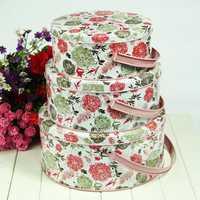 Zakka hoja lata vintage flores rosadas misceláneamente caja de almacenamiento sello snacks almacenamiento portátil conjunto de piezas de tanque
