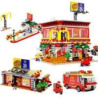 Hot compatible LegoINGlys city LED Street View Series 4in1 Mcdonald Navidad restaurante bloques de construcción juguetes para niños regalo