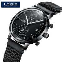LOREO negro de moda de los hombres relojes 2017 de alta calidad Ultra delgado de reloj de cuarzo hombre único Dial negro cuarzo reloj masculino