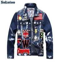 Sokotoo hombres bandera cartas diseño de parche chaqueta de denim pintada Slim cráneo placa patchwork manga larga jean abrigo