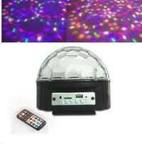 9 colores MP3 bola mágica de cristal llevó la etapa de la lámpara disco luz láser partido luces láser de control de sonido música proyector KTV