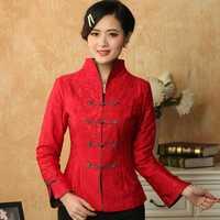 Rojo chino tradicional de las mujeres del estilo de satén de seda chaqueta abrigo flores tamaño S, M, L, XL, XXL, XXXL envío gratis Mny01-B