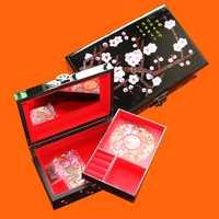 Chino Pingyao mano empuje luz laca china lacado joyería caja de almacenamiento de madera tradicional artesanía decoración de la boda