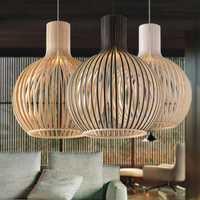 Moderno de madera negro jaula E27 bombilla luz norbic casa deco de tejer de bambú de madera lámpara colgante