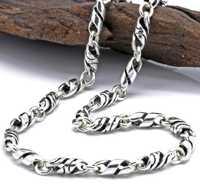 Plata pura 4mm para hombre Retro nudo torcido collar Cadena de plata esterlina 925 joyería cadena