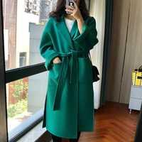 Las mujeres de invierno abrigo de lana prendas de vestir exteriores de lana nueva llegada hecho a mano de lana de doble cara Otoño Invierno verde