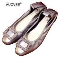 Hecho a mano 100% cuero genuino mujeres zapatos de estilo simple mujeres calzado vaca suave holgazán cristal hebilla señora del ballet zapatos planos