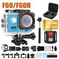 Ultra HD 4 K Cámara de Acción wifi cámaras 16MP 170 ir Cámara 4 K deportiva 2 pulgadas f60 impermeable del deporte la cámara pro 1080 P 60fps cam
